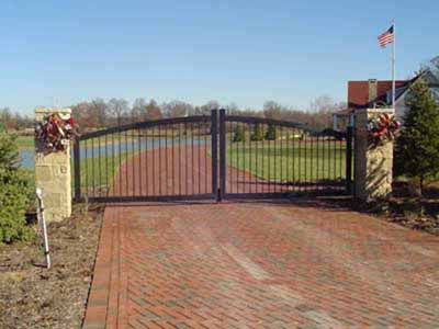 Custom fabricated entry gate with electronic opener